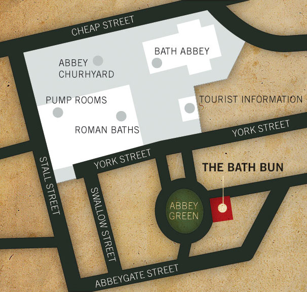Map of Bath showing the location of the Bath Bun